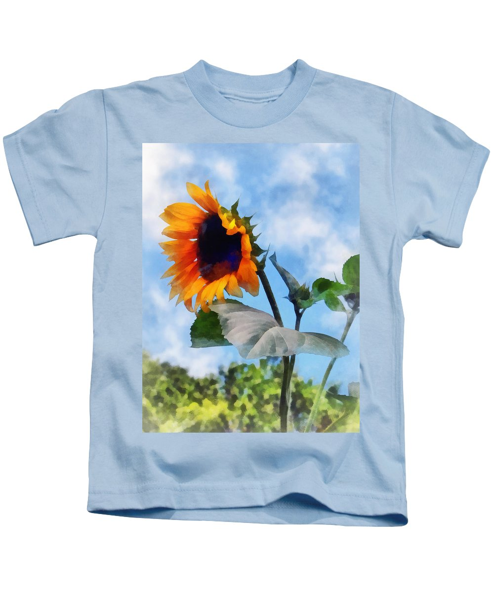 Sunflower Kids T-Shirt featuring the photograph Sunflower Against The Sky by Susan Savad