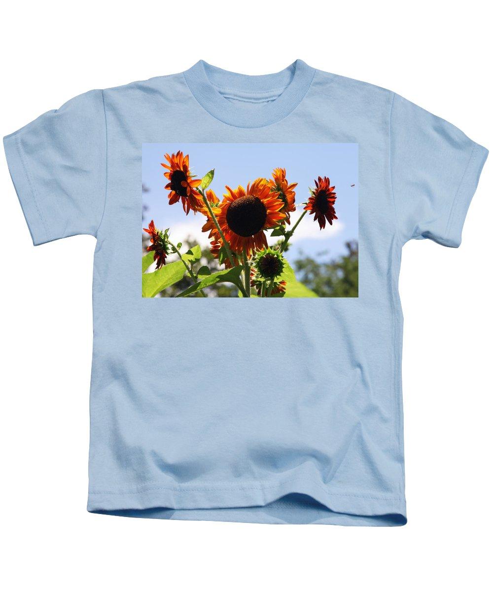 Sunflowers Kids T-Shirt featuring the photograph Sunflower Symphony by Karen Wiles