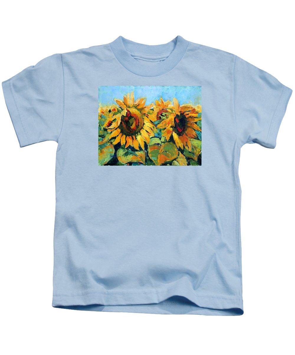 Sunflowers Kids T-Shirt featuring the painting Sunflowers 2 by Iliyan Bozhanov