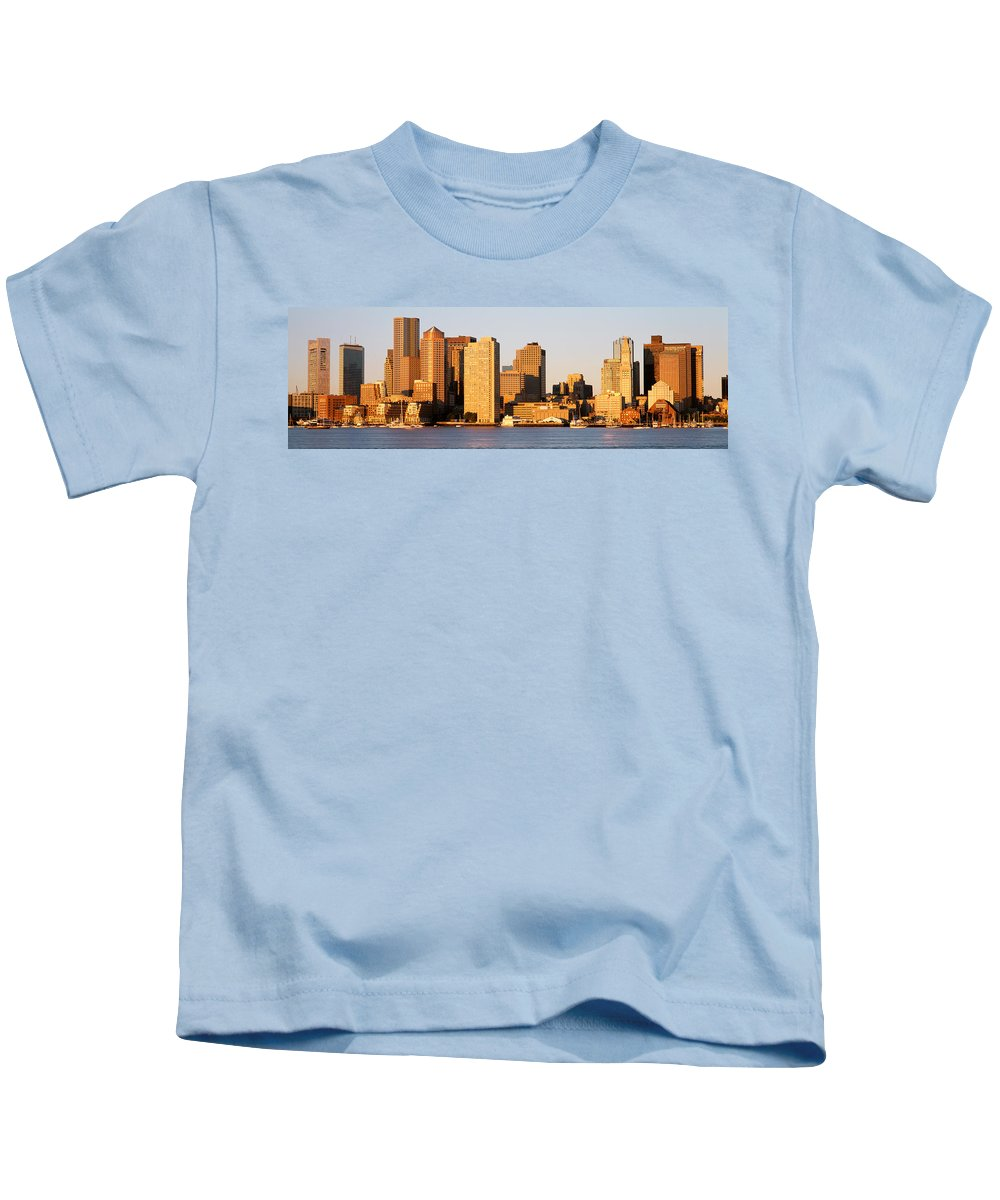 Photography Kids T-Shirt featuring the photograph Sunrise, Skyline, Boston by Panoramic Images