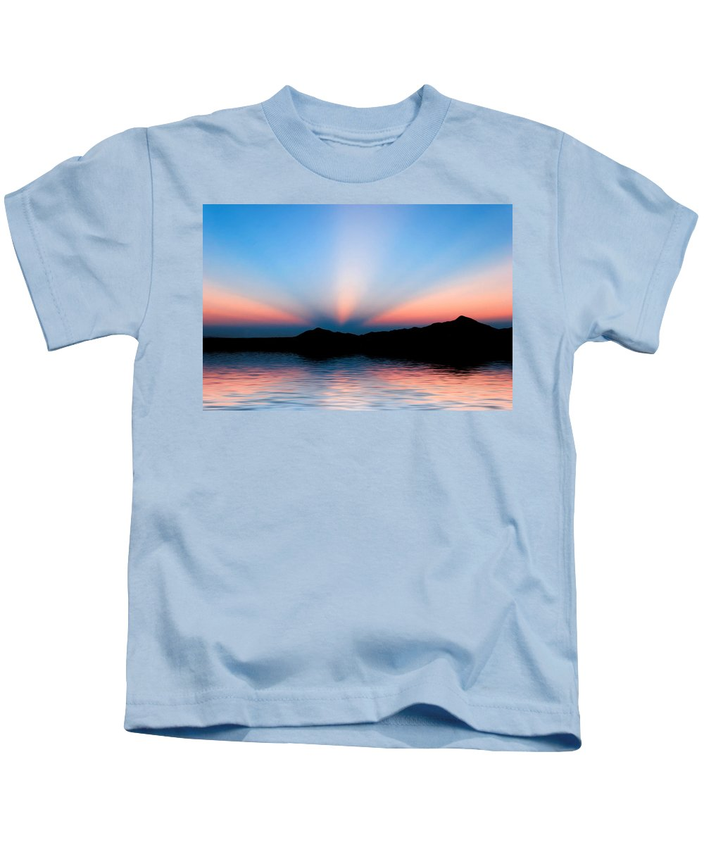 Sunrays Kids T-Shirt featuring the photograph Sunset Rays Over Island by Diana Hughes