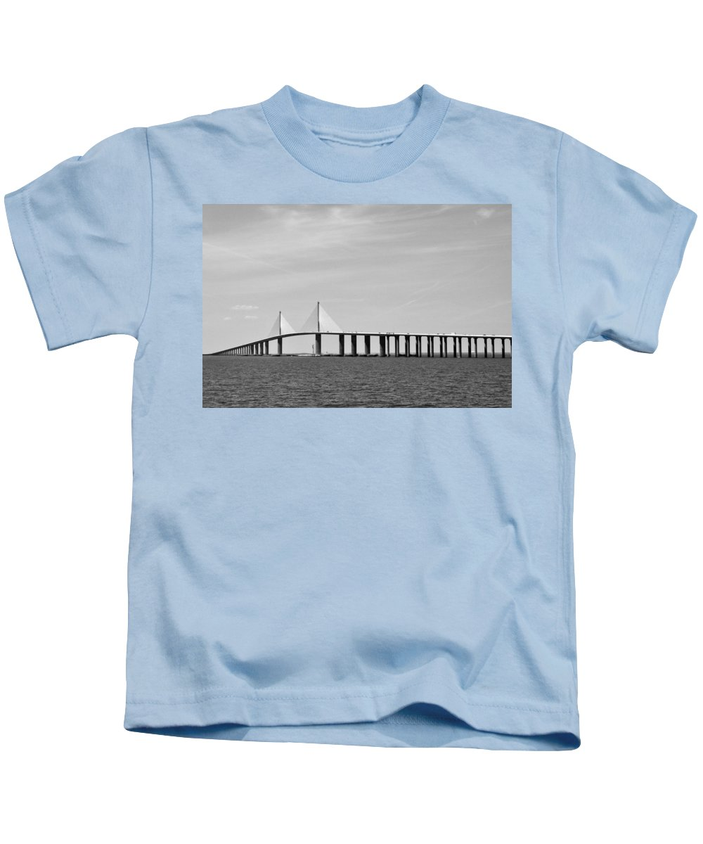 4.1 Kids T-Shirt featuring the photograph Sunshine Skyway Bridge Bw II Tampa Bay Florida Usa by Sally Rockefeller
