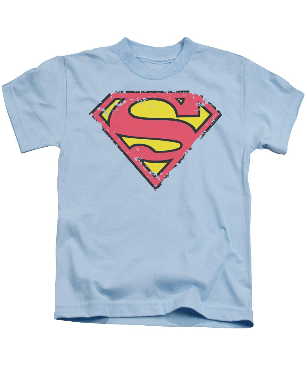 Superman Kids T-Shirt featuring the digital art Superman - Distressed Shield by Brand A