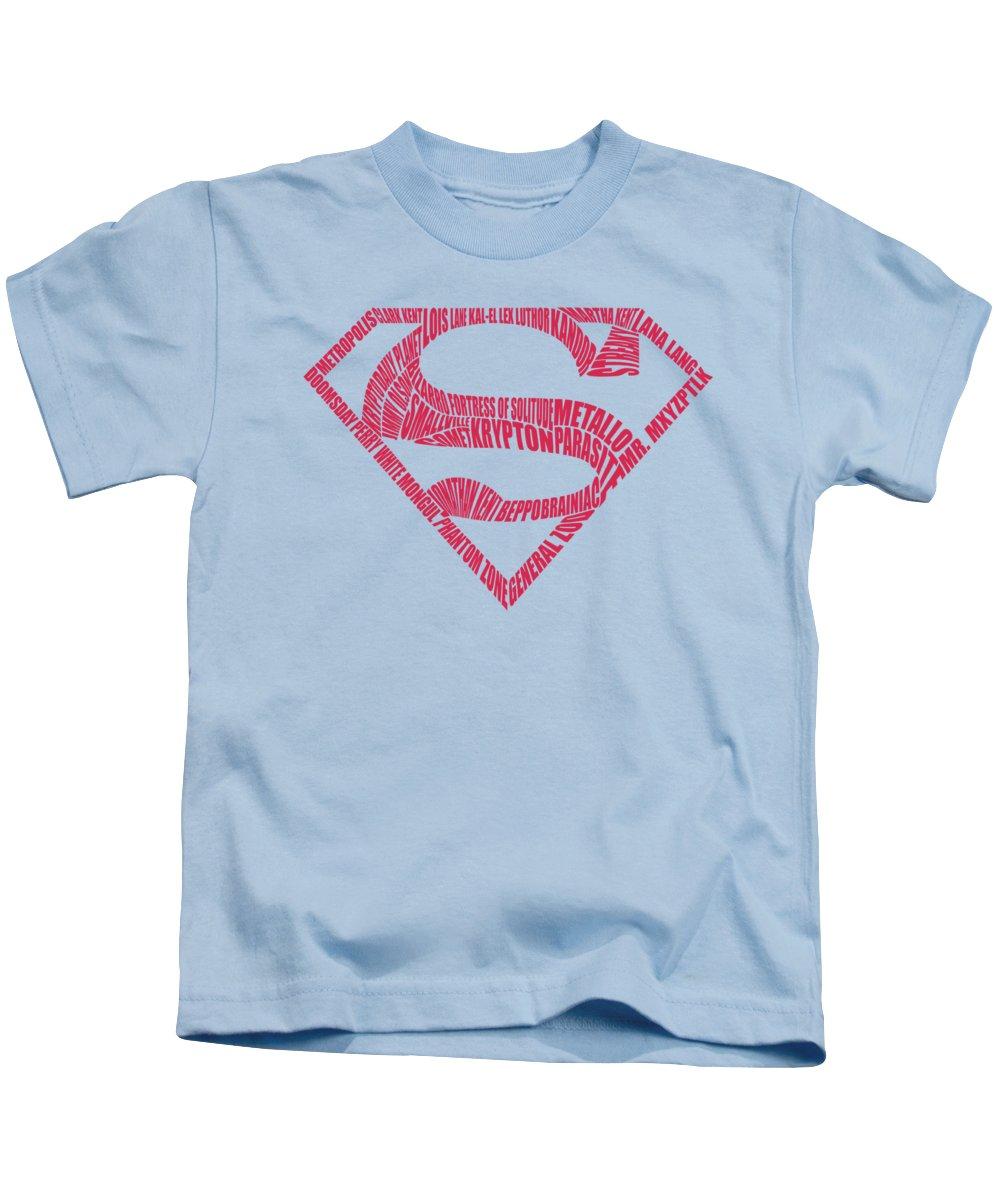 Superman Kids T-Shirt featuring the digital art Superman - Word Shield by Brand A