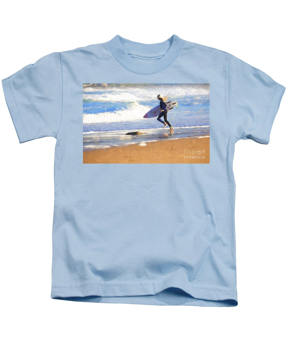 Surfer Kids T-Shirt featuring the photograph Surfing girl by Sheila Smart Fine Art Photography