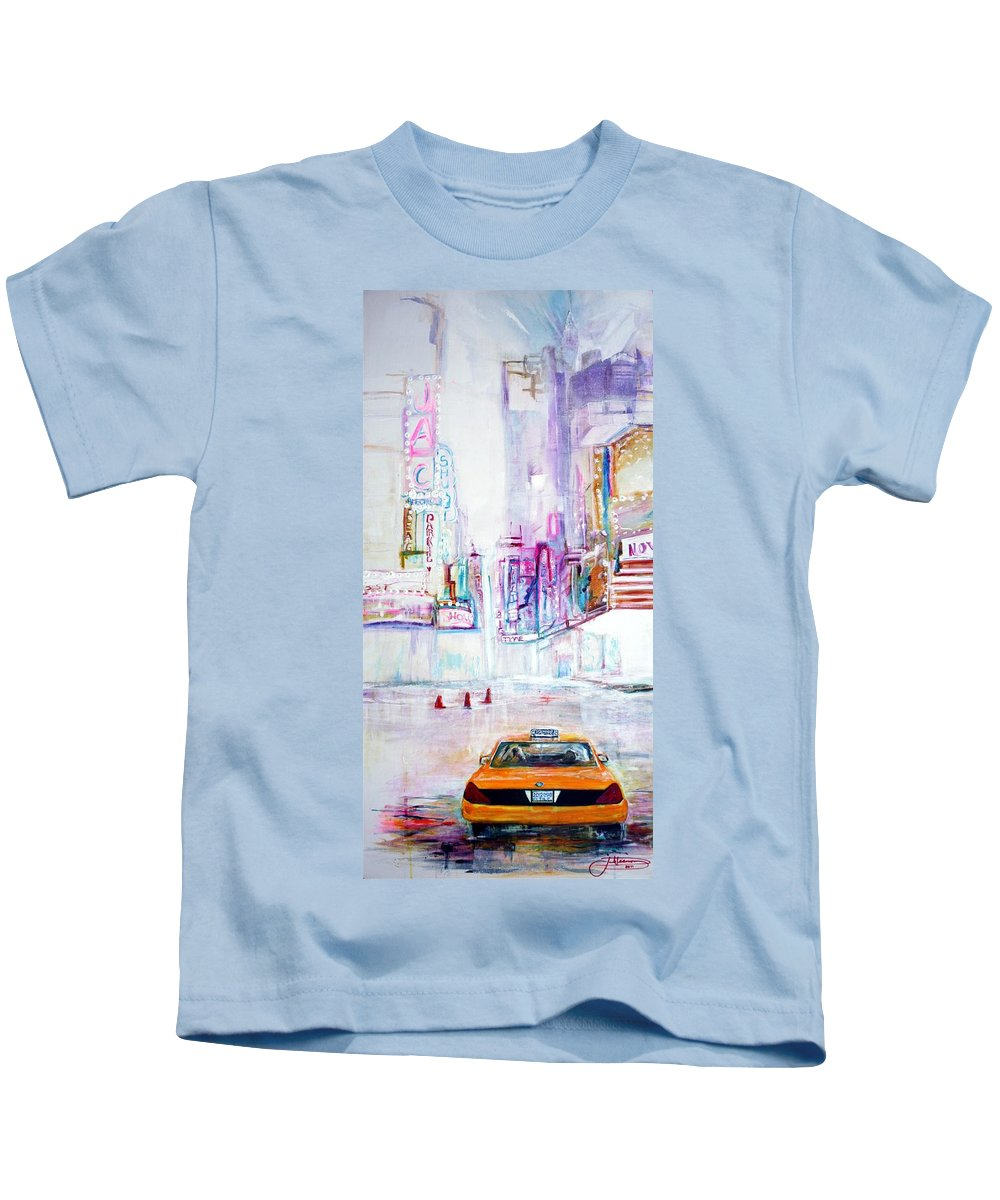 Taxi Kids T-Shirt featuring the painting Taxi Eight Show Time by Jack Diamond