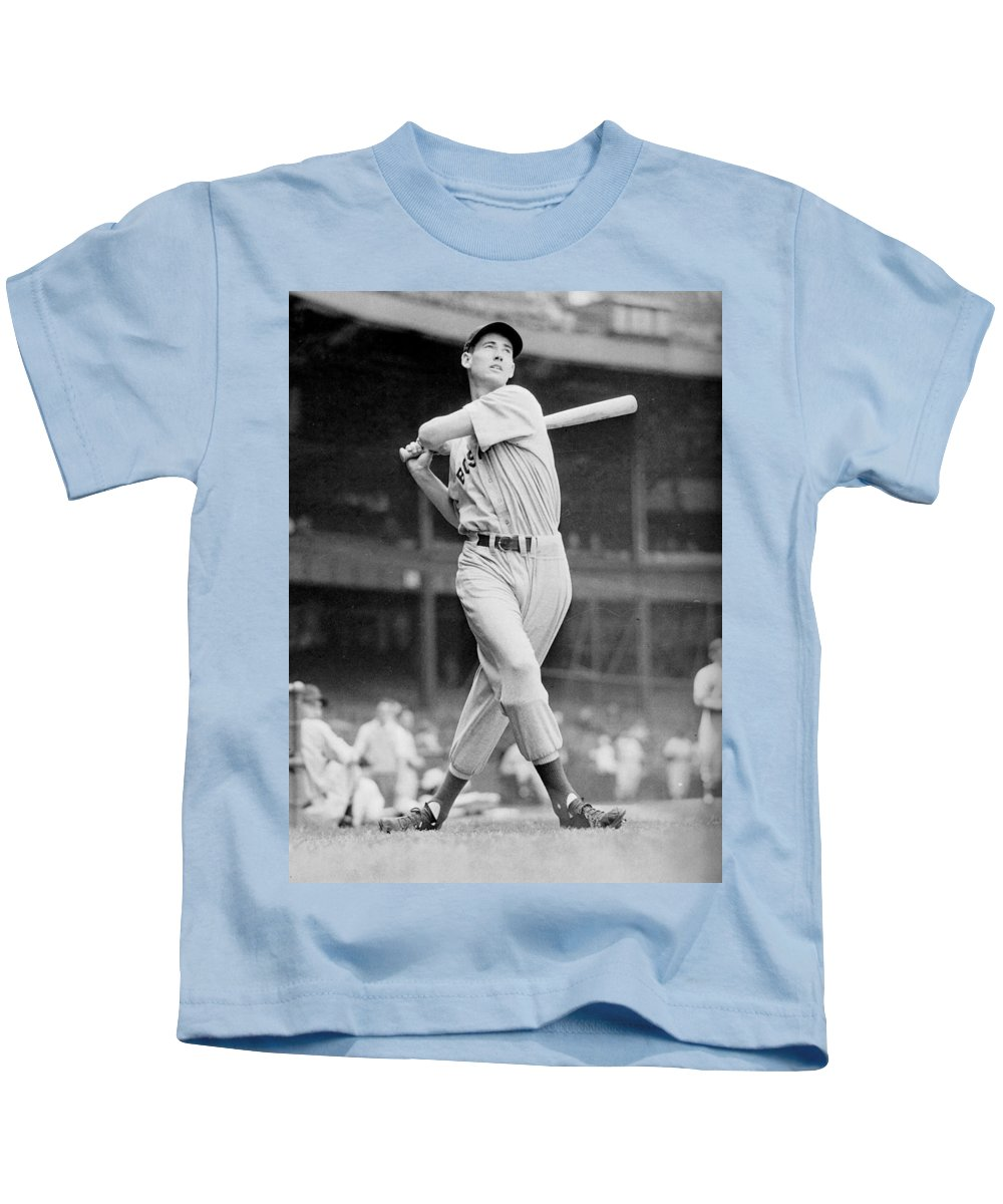 Ted Kids T-Shirt featuring the photograph Ted Williams Swing by Gianfranco Weiss