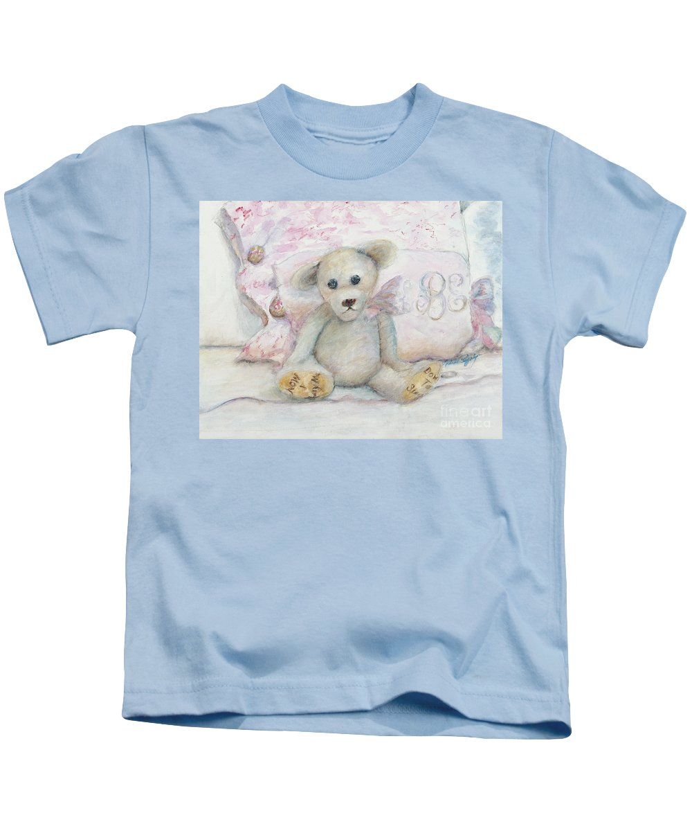 Teddy Bear Kids T-Shirt featuring the painting Teddy Friend by Nadine Rippelmeyer