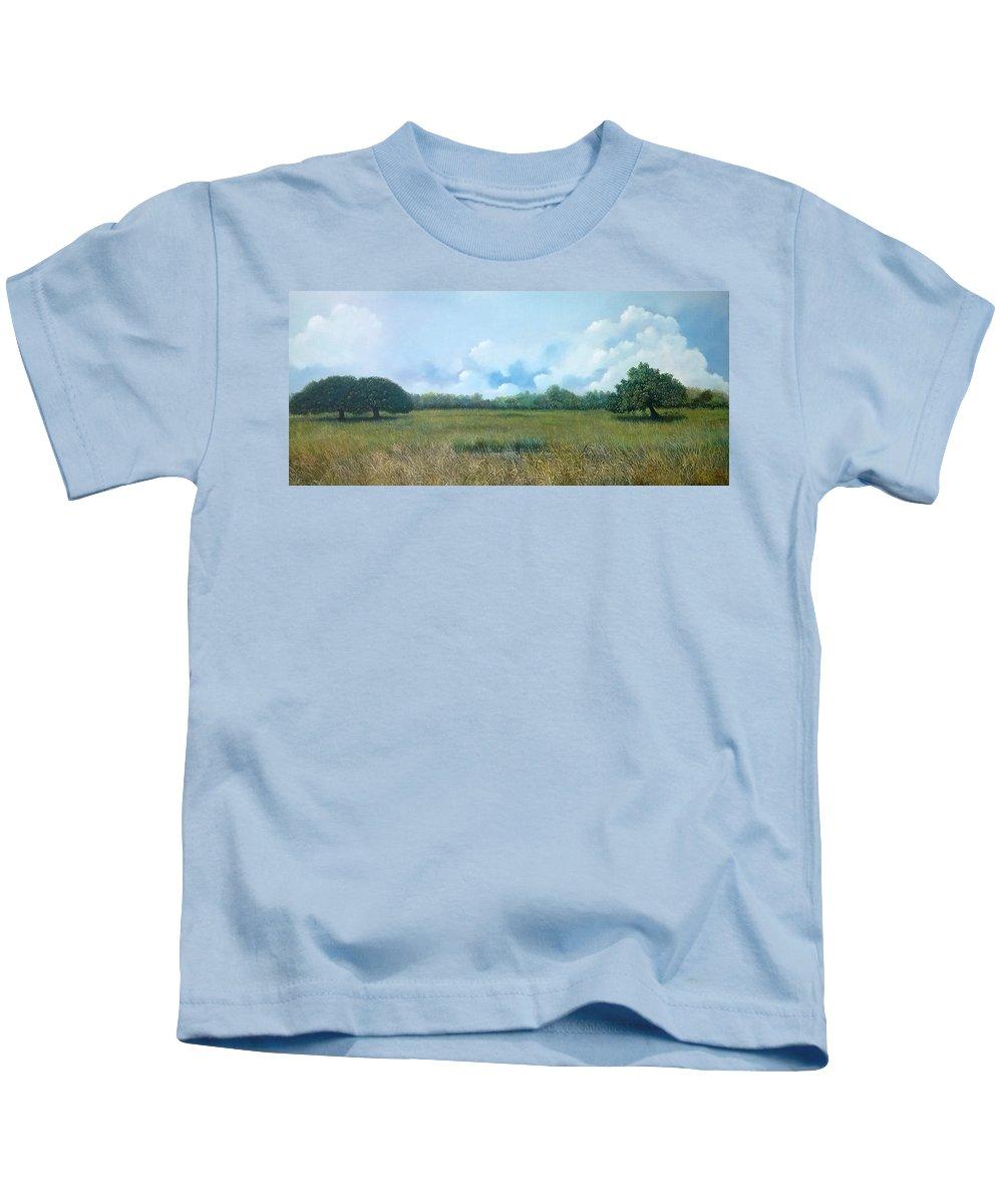 Paisaje Tropical Kids T-Shirt featuring the painting Tensegridad by Ricardo Sanchez Beitia