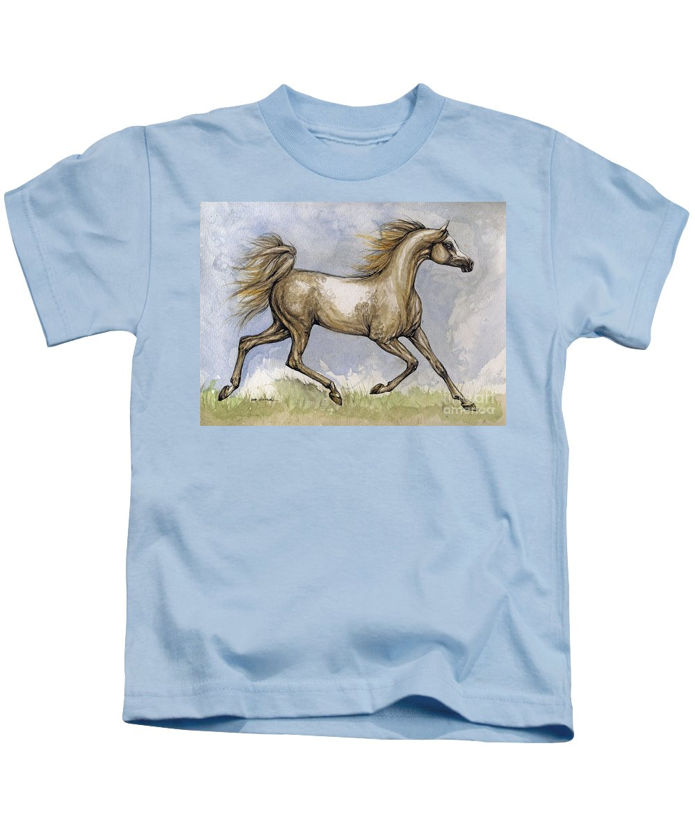Mare Kids T-Shirt featuring the painting The Arabian Mare Running by Angel Ciesniarska