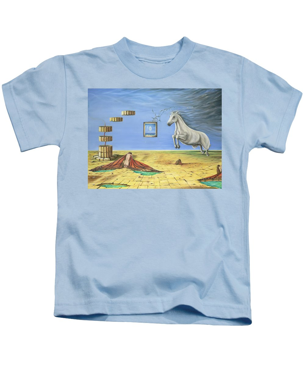 Horse Kids T-Shirt featuring the painting The Awakening by Teresa Gostanza