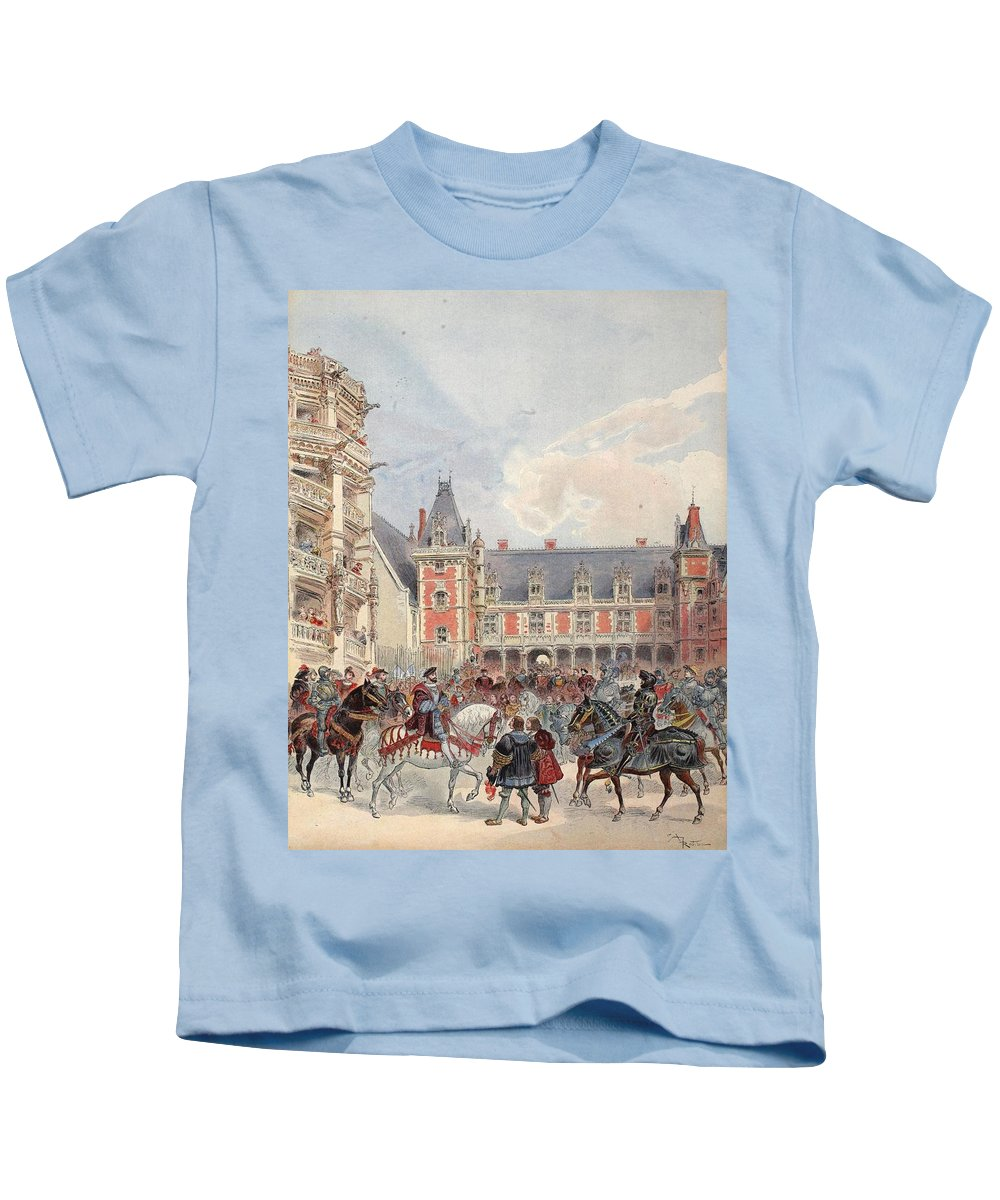 France Kids T-Shirt featuring the drawing The Court In Chateaus Of The Loire by Albert Robida