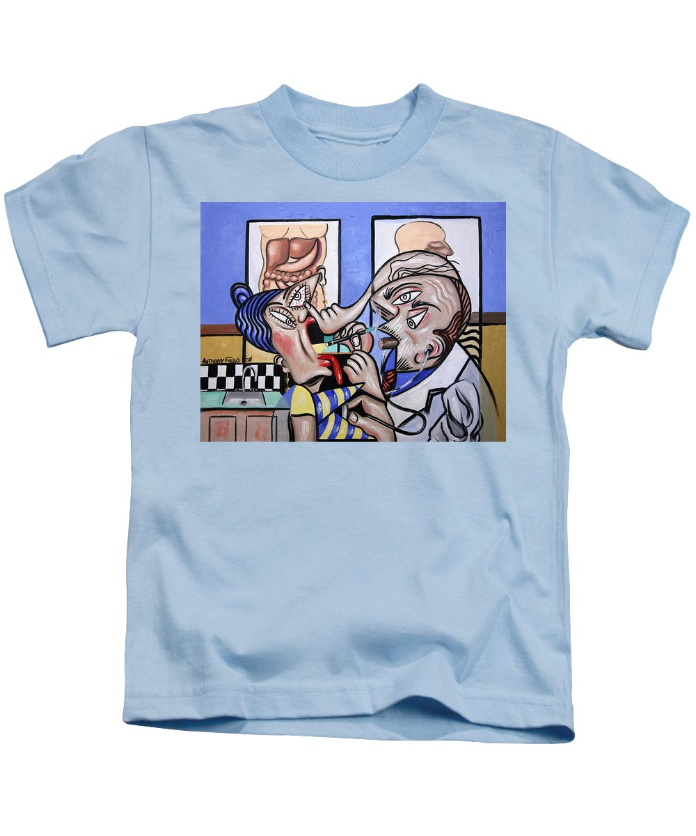 The Cubist Doctor Md Kids T-Shirt featuring the painting The Cubist Doctor Md by Anthony Falbo