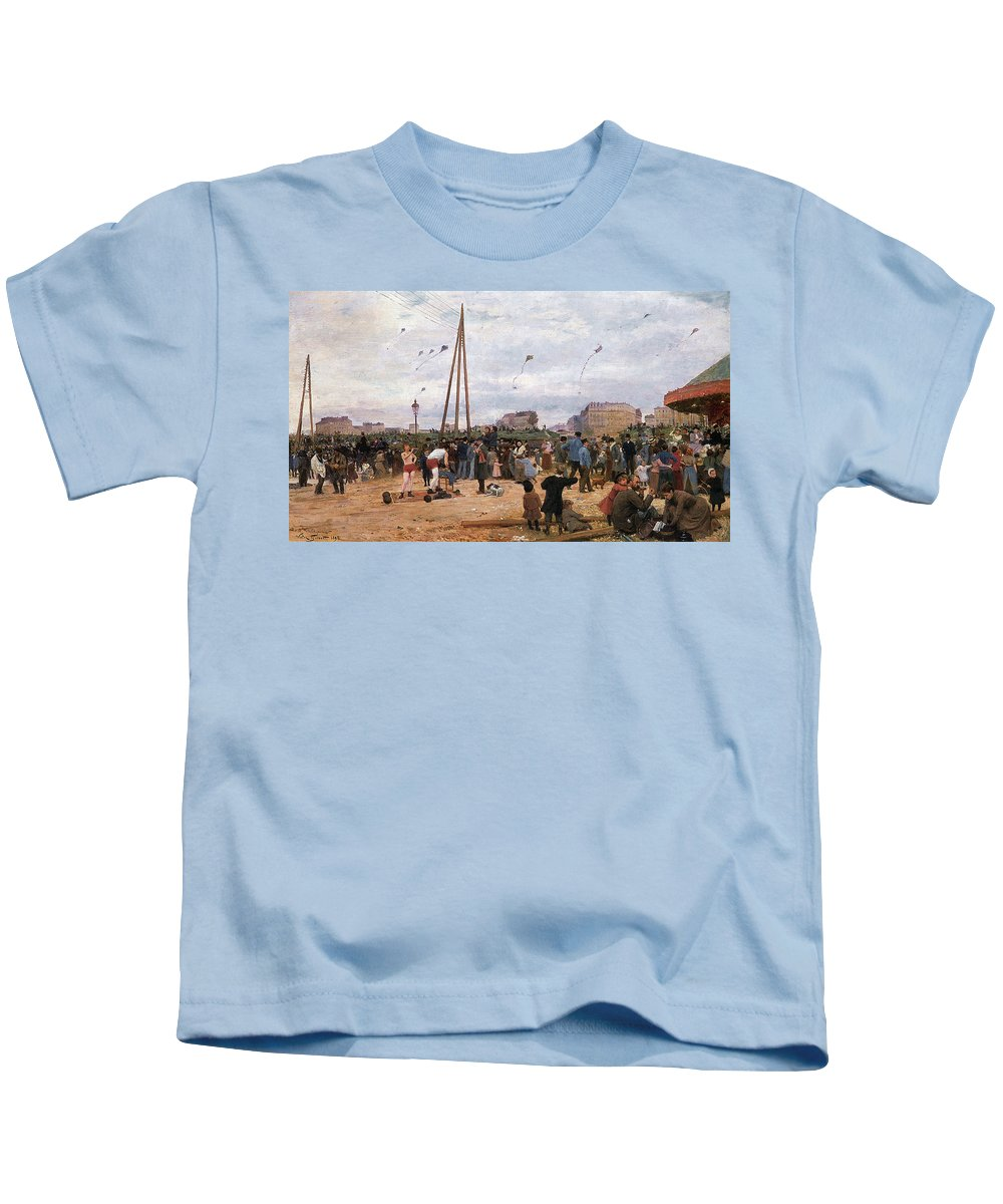 The Fairgrounds At Porte De Clignancourt Kids T-Shirt featuring the digital art The Fairgrounds At Porte De Clignancourt Paris by Victor Gabriel Gilbert