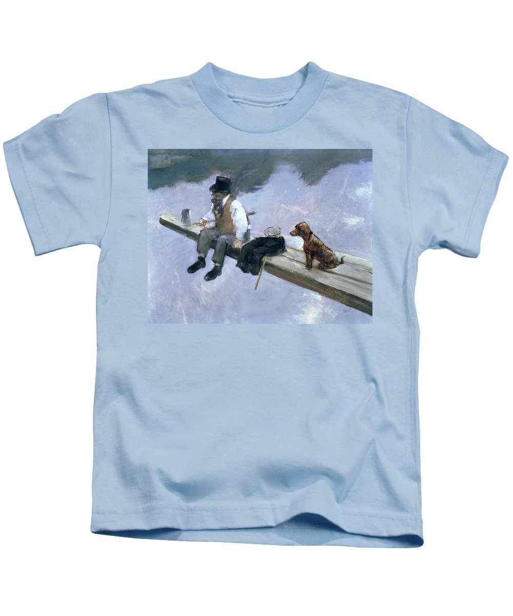 Forain Kids T-Shirt featuring the painting The Fisherman, Detail Of A Man Fishing by Jean Louis Forain
