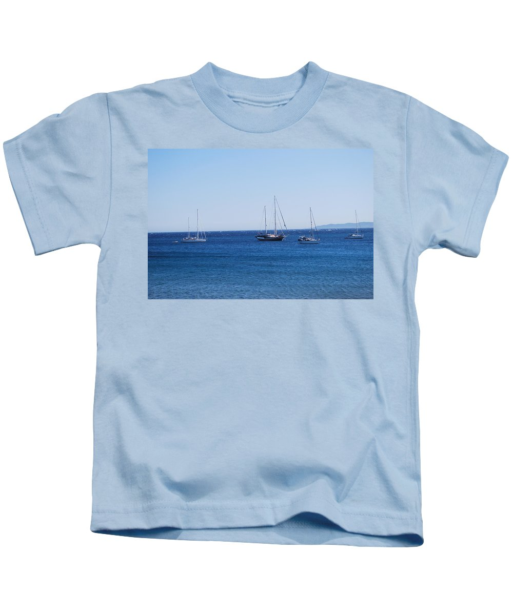 Blue Sea Kids T-Shirt featuring the photograph The Fleet Is In by George Katechis