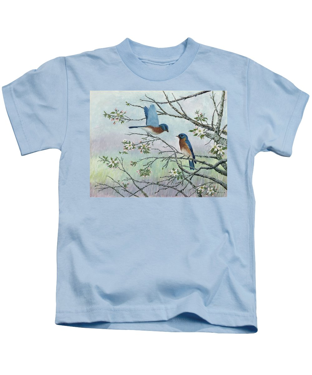 Bluebirds; Trees; Wildlife Kids T-Shirt featuring the painting The Gift by Ben Kiger