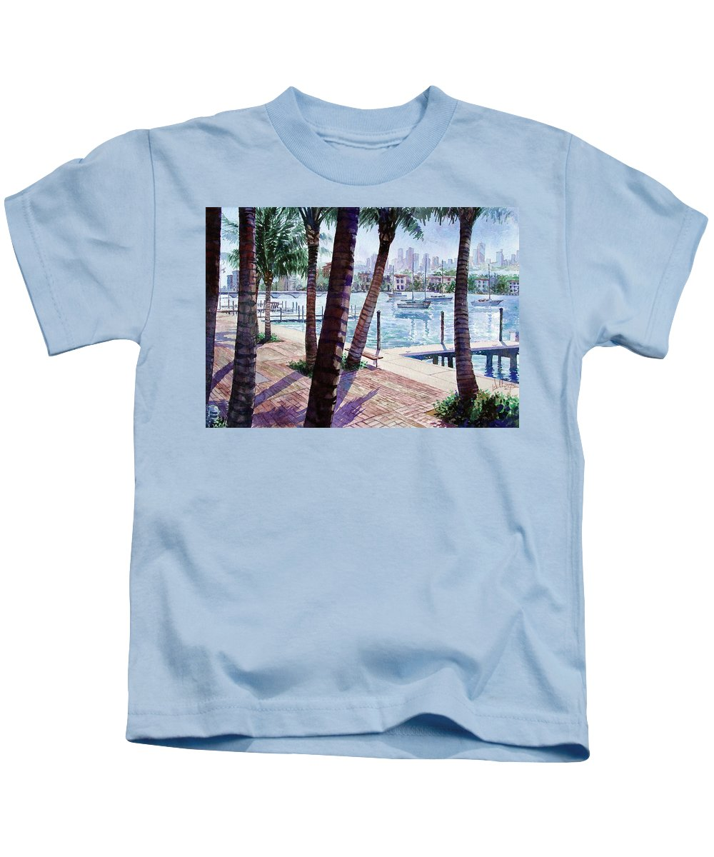 Landscape Kids T-Shirt featuring the painting The Harbor Palms by Mick Williams