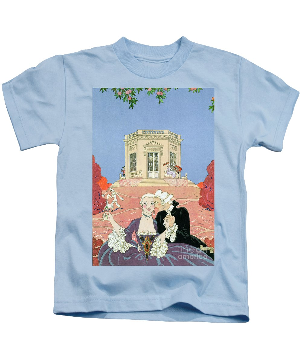 Male Kids T-Shirt featuring the painting The Indolents by Georges Barbier