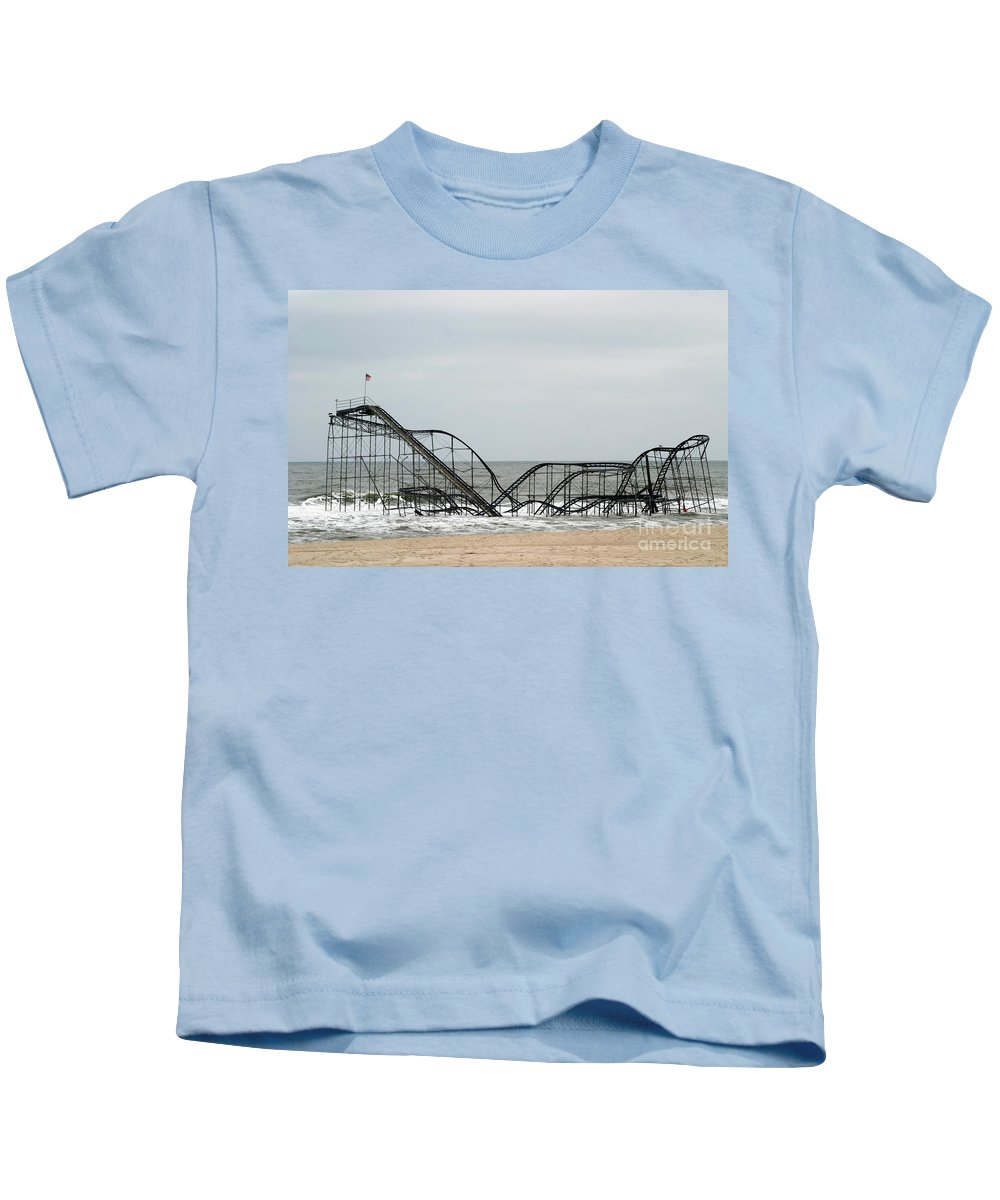 Iconic Kids T-Shirt featuring the photograph The Jetstar Rollercoaster In Seaside Heights Nj by Living Color Photography Lorraine Lynch