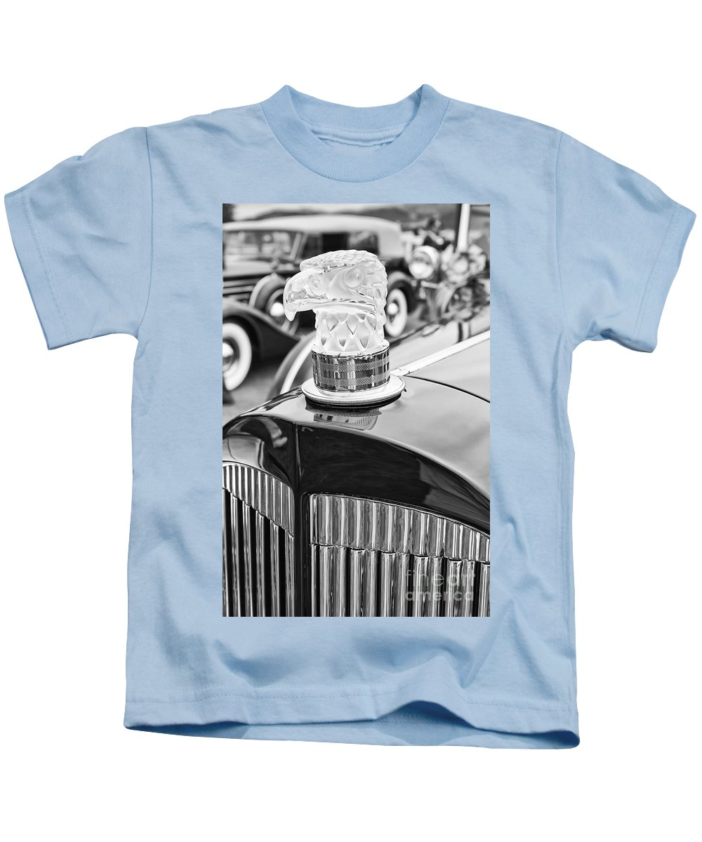 Concours D'elegance Kids T-Shirt featuring the photograph The Packard Eagle Hood Ornament At The Concours D Elegance. by Jamie Pham