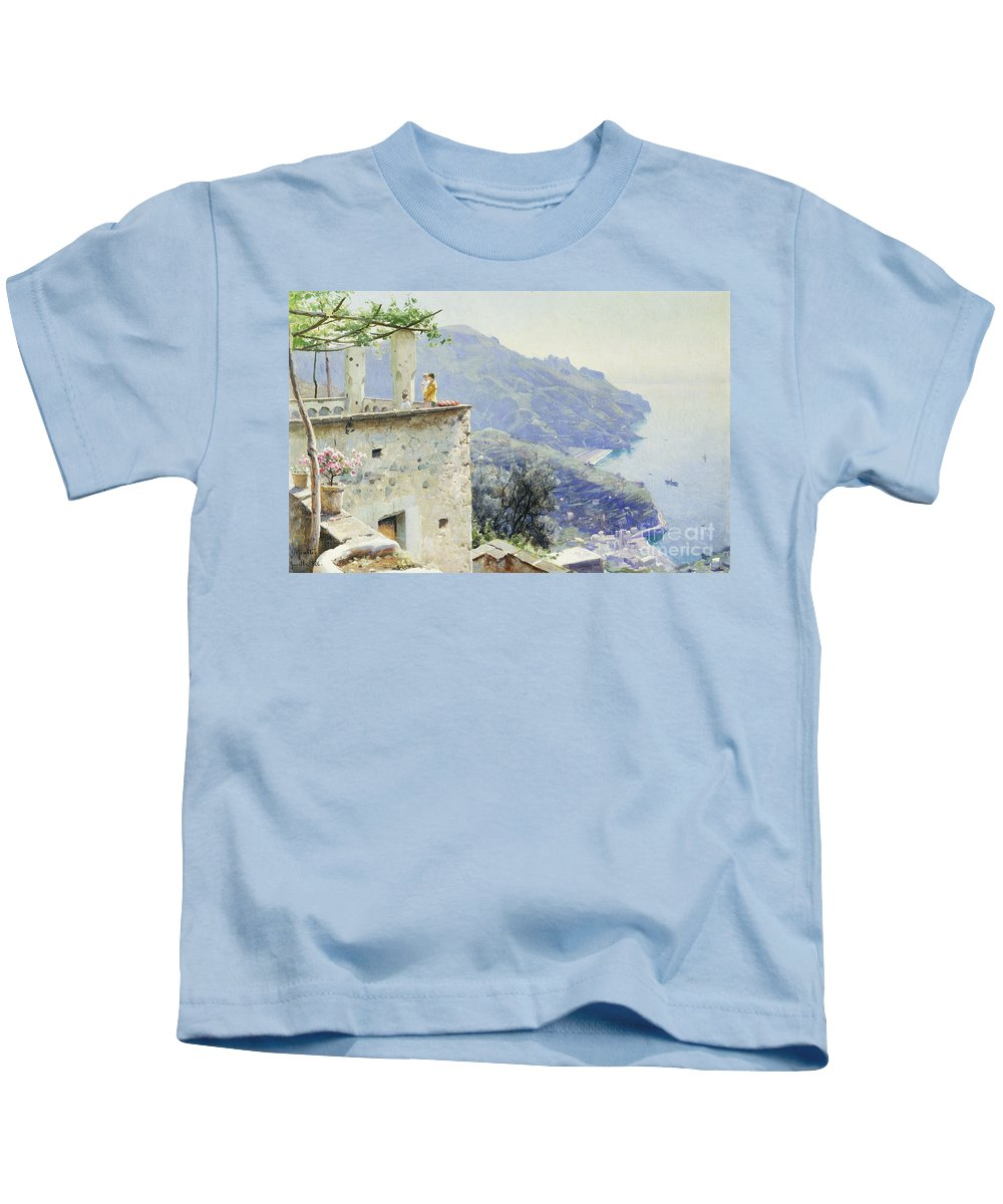 1920s Kids T-Shirt featuring the painting The Ravello Coastline by Peder Monsted