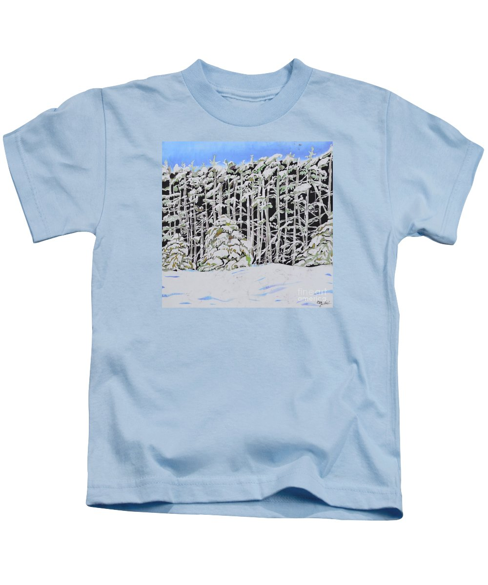 Batik Kids T-Shirt featuring the tapestry - textile The Road To Petoskey by Kate Ford