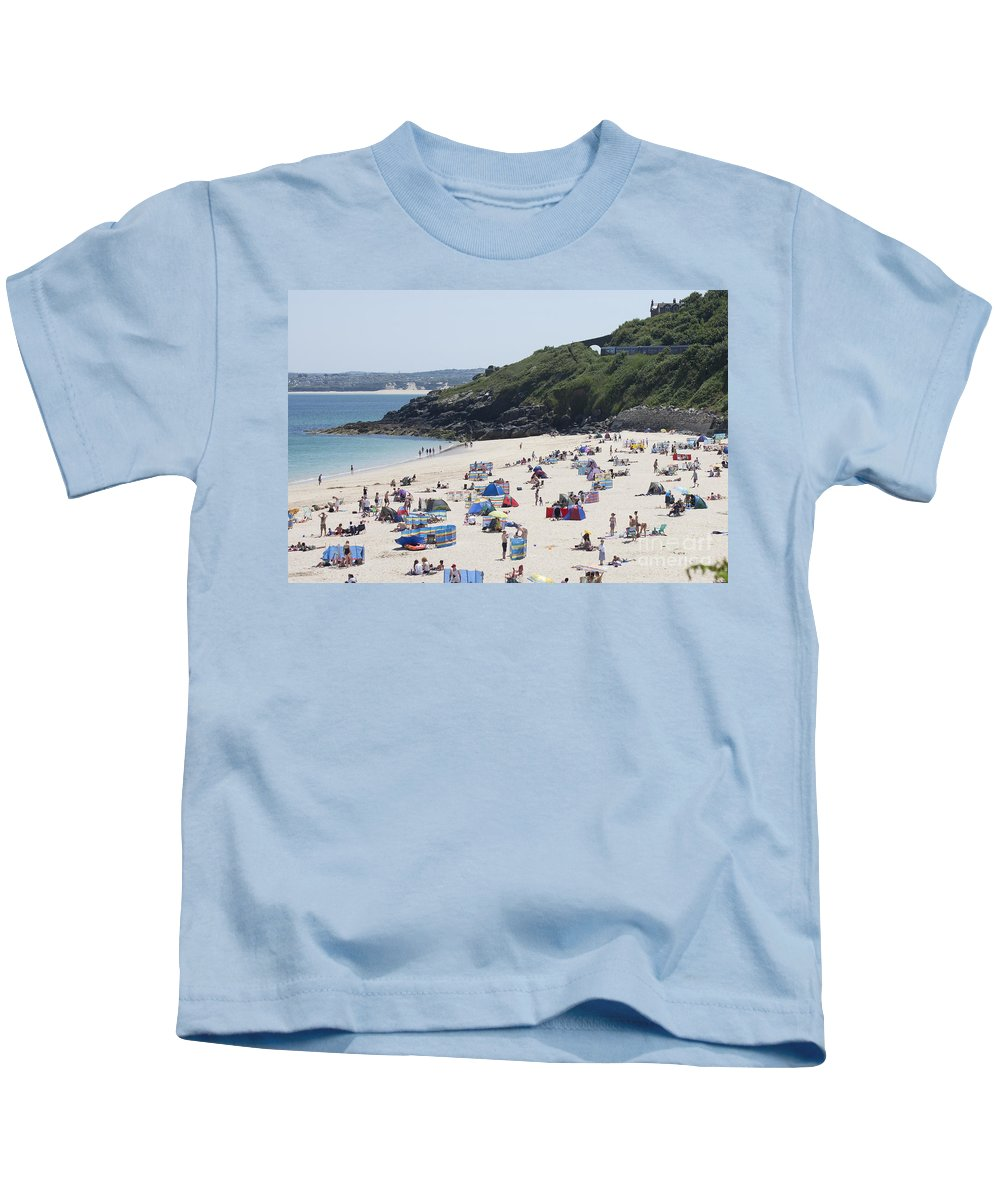 Porthminster Kids T-Shirt featuring the photograph The Train Line Porthminster by Terri Waters
