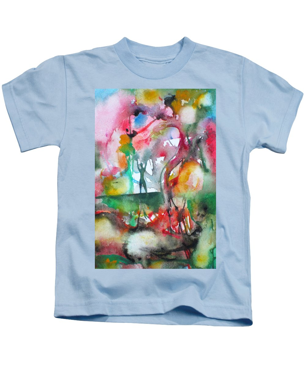 Human Kids T-Shirt featuring the painting There Is A Friend Over There by Fabrizio Cassetta