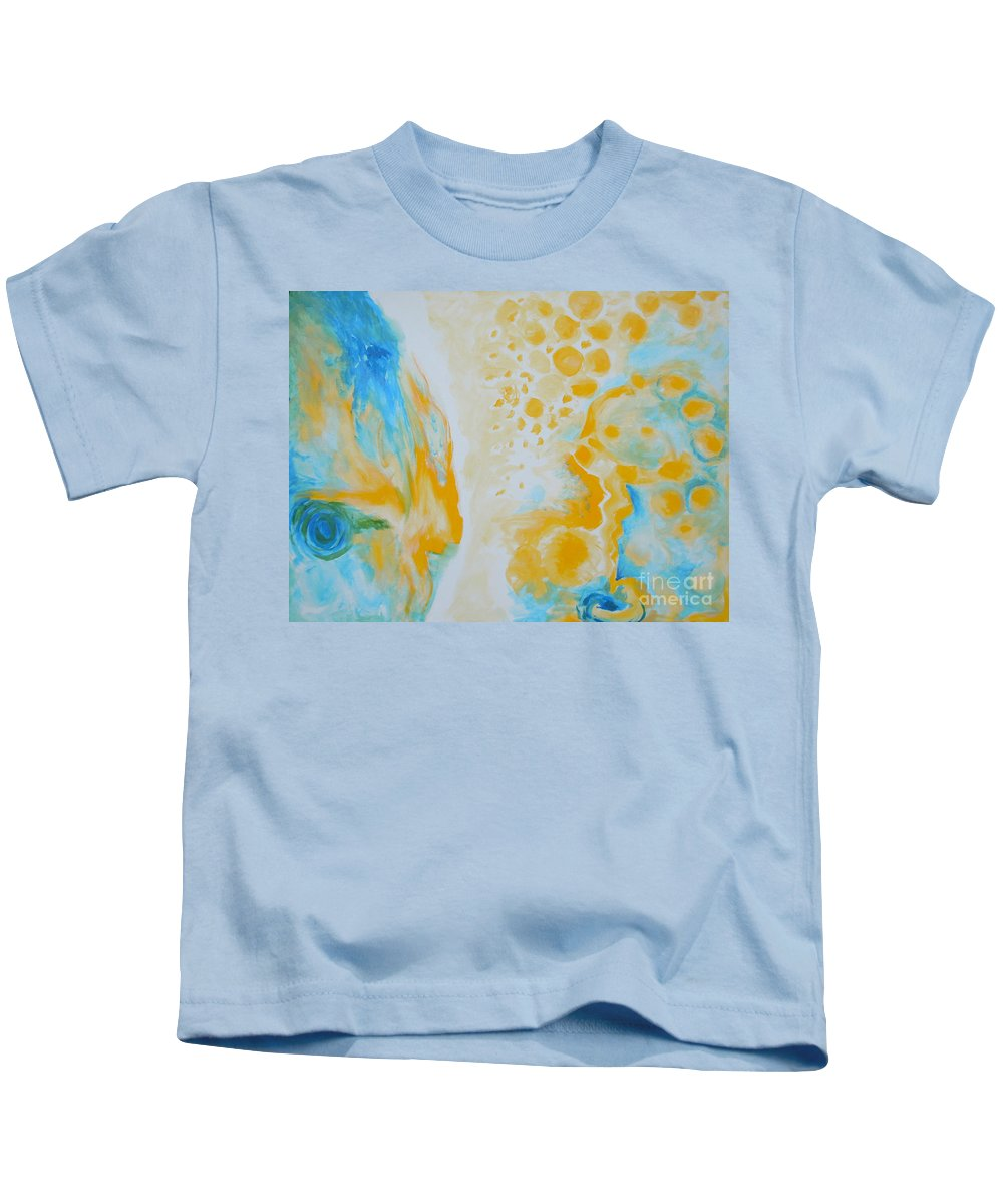 Circles Kids T-Shirt featuring the painting There - Looking At Me by Tonya Henderson