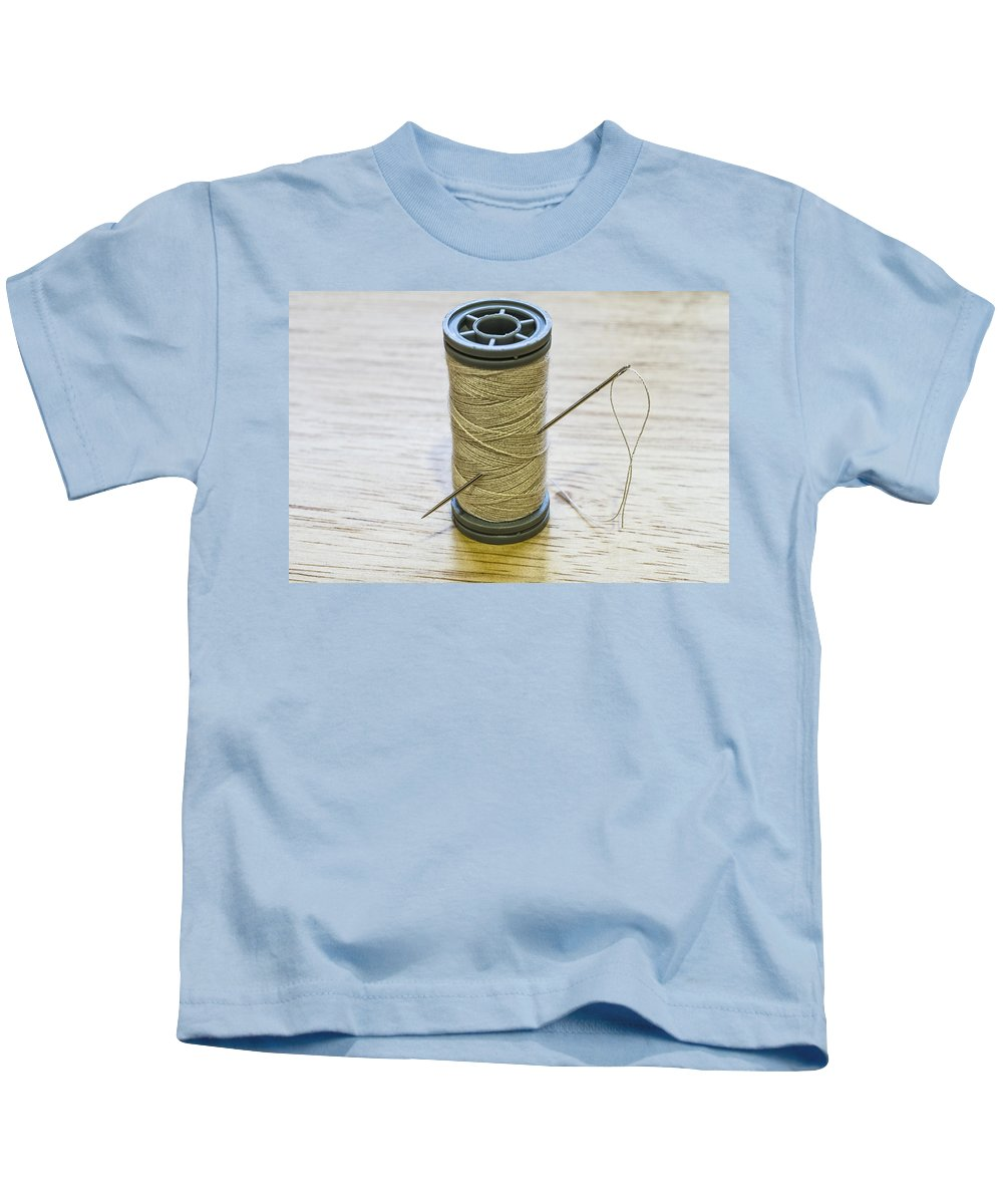 Background Kids T-Shirt featuring the photograph Thread And Needle by Paulo Goncalves