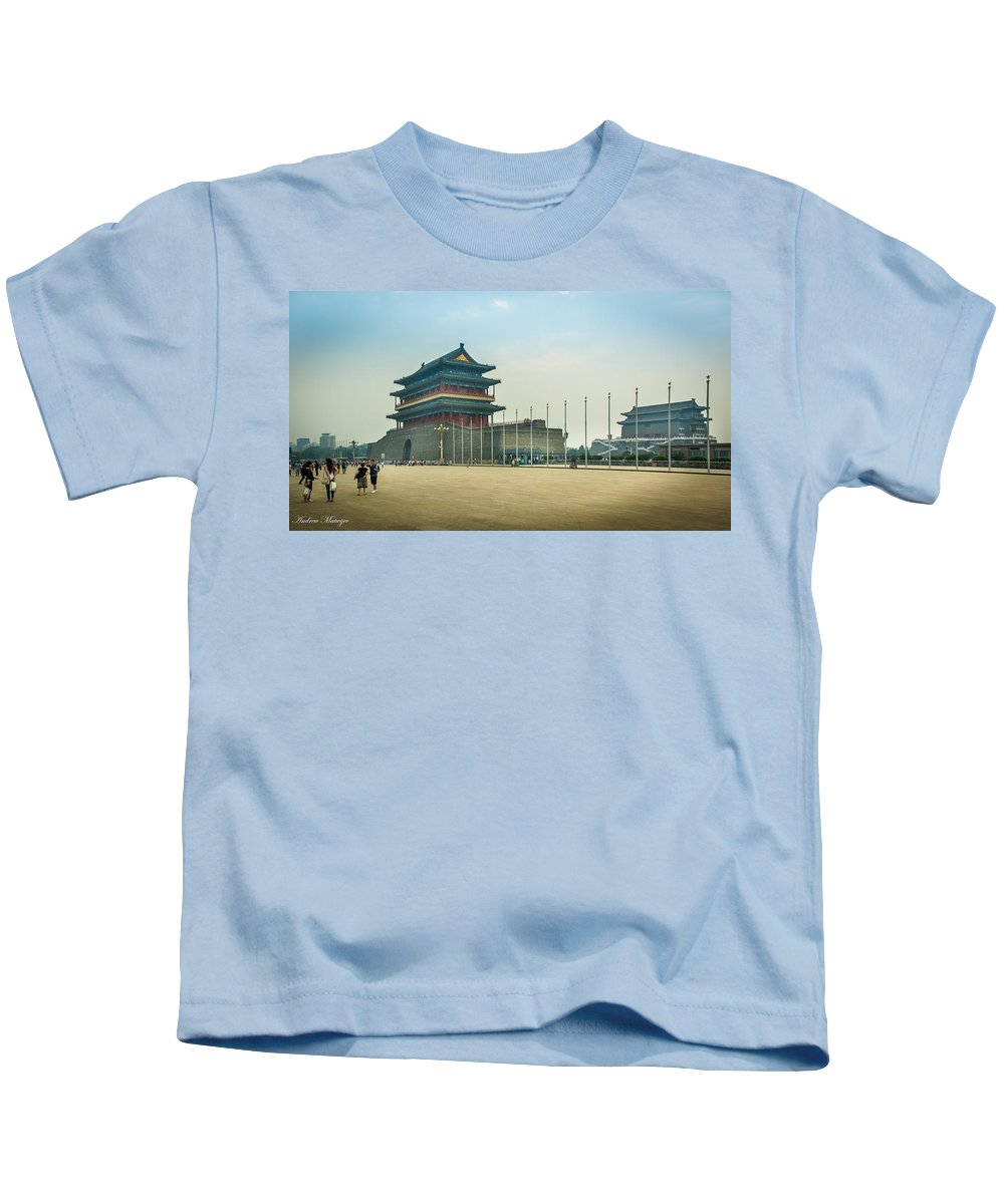 China Kids T-Shirt featuring the photograph Tiananmen Square by Andrew Matwijec
