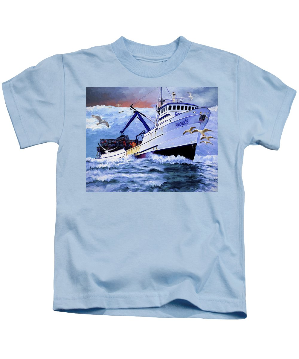 Alaskan King Crabber Kids T-Shirt featuring the painting Time To Go Home by David Wagner