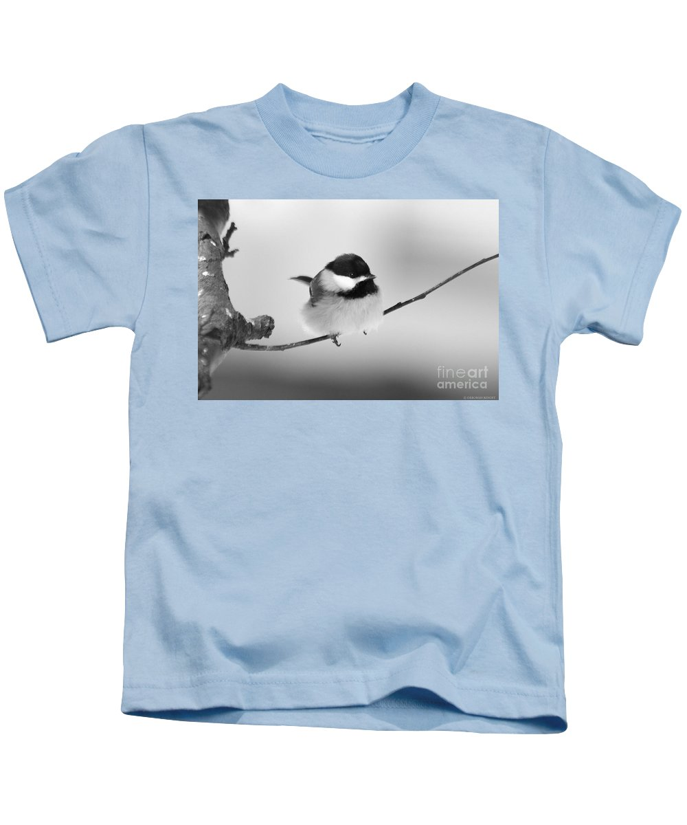 Bird Kids T-Shirt featuring the photograph Tiny Branch With Guest by Deborah Benoit