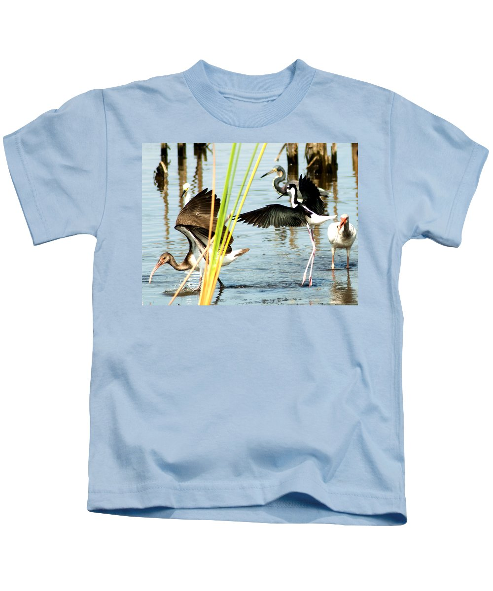 Black-necked Stilt Kids T-Shirt featuring the photograph Tiptoe Like This by Norman Johnson