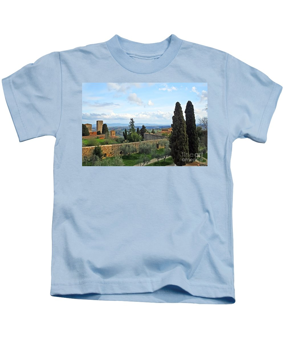 Travel Kids T-Shirt featuring the photograph Top Of A Hill Town by Elvis Vaughn