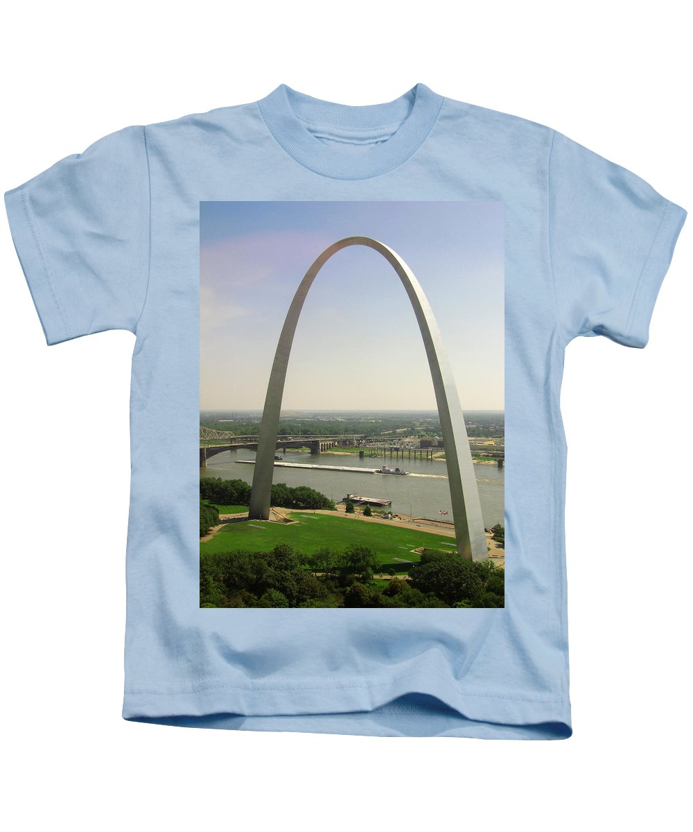 Mississippi River Kids T-Shirt featuring the photograph Top Of The Riverfront by Garry McMichael