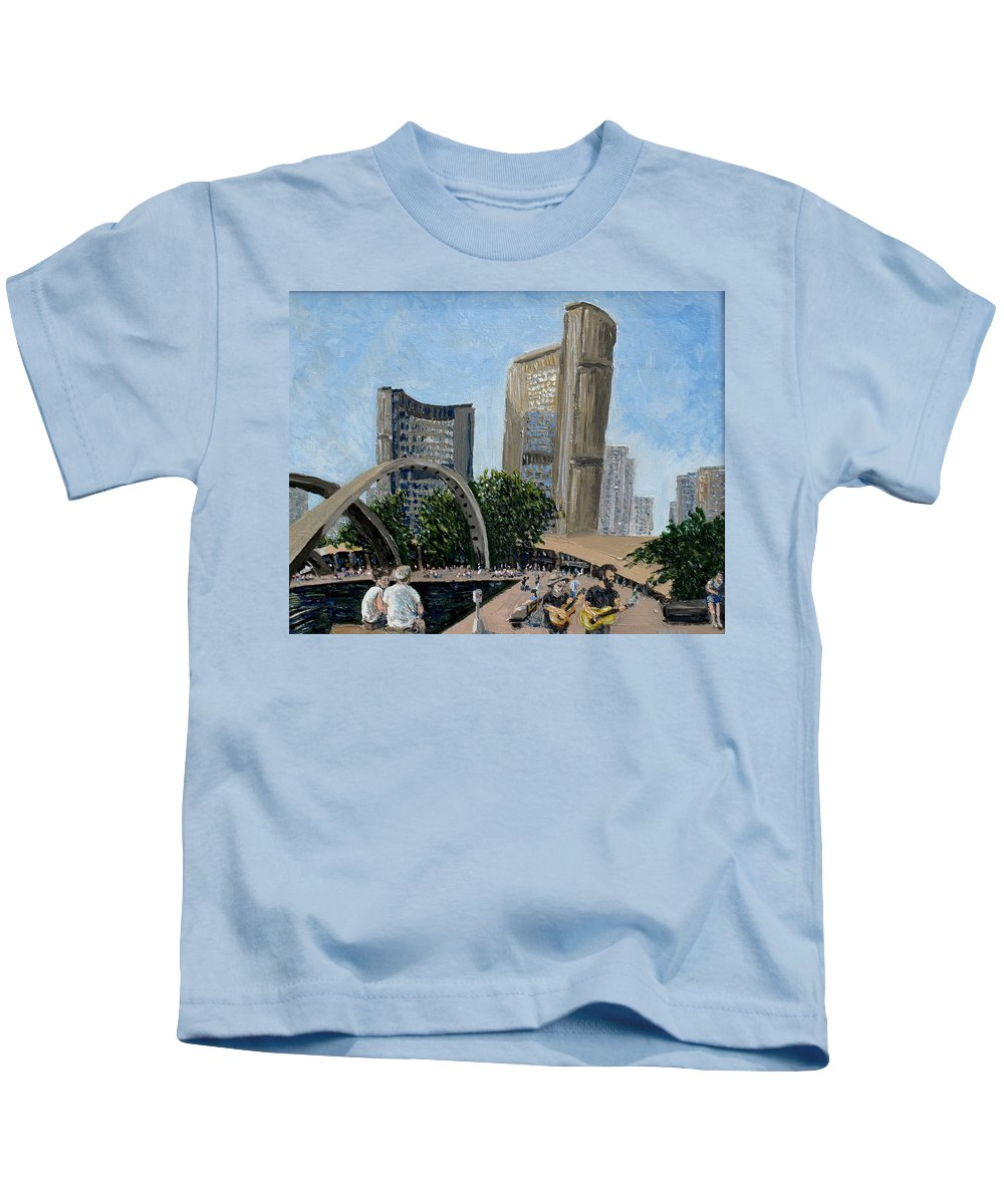 Toronto Kids T-Shirt featuring the painting Toronto City Hall by Ian MacDonald
