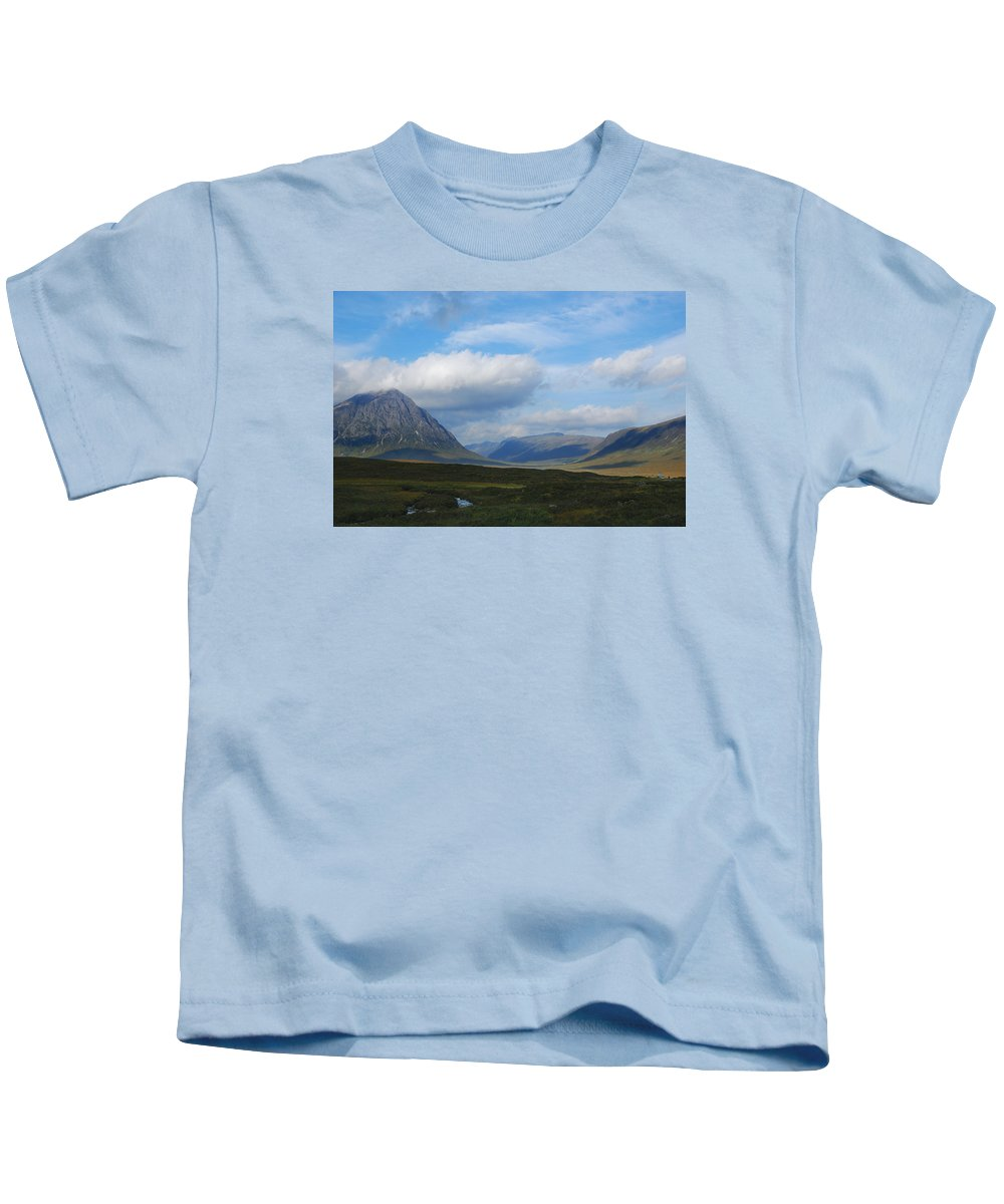 Scotland Kids T-Shirt featuring the photograph Touching Clouds by Wendy Wilton