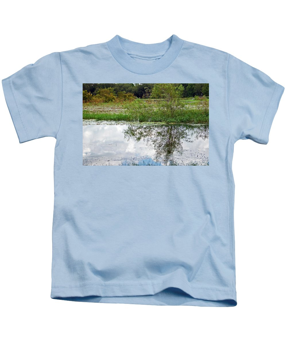 Tree Kids T-Shirt featuring the photograph Tree Reflecting In Pond by Aimee L Maher ALM GALLERY