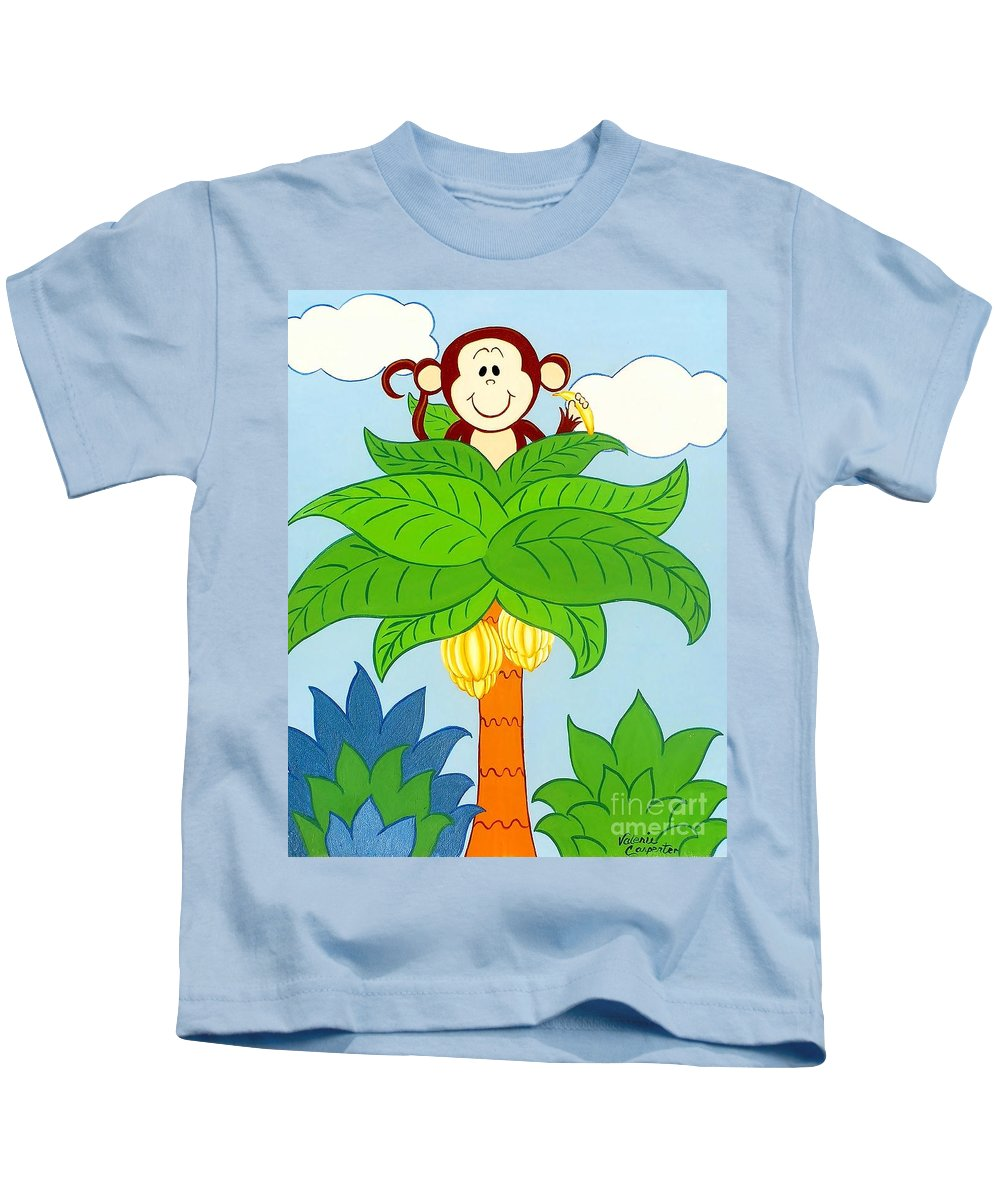 Monkey Kids T-Shirt featuring the painting Tree Top Monkey by Valerie Carpenter