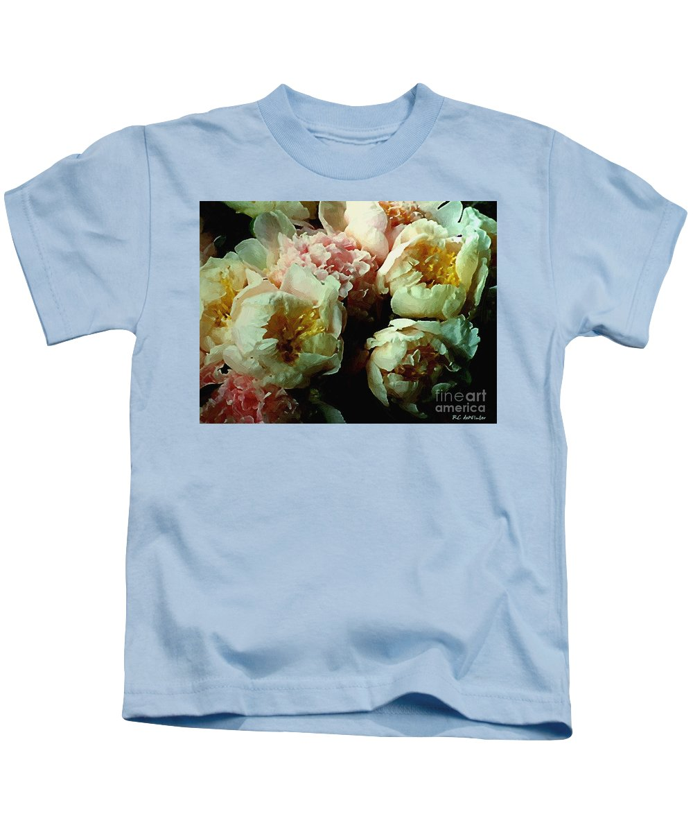 Peonies Kids T-Shirt featuring the painting Tribute To The Old Masters by RC DeWinter