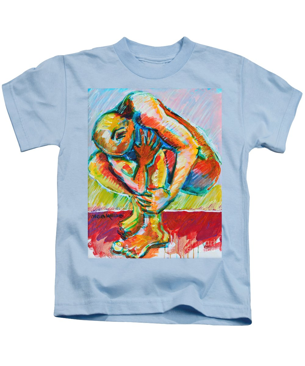 Struggles Kids T-Shirt featuring the painting Trilogy - N My Soul 3 by Charles M Williams