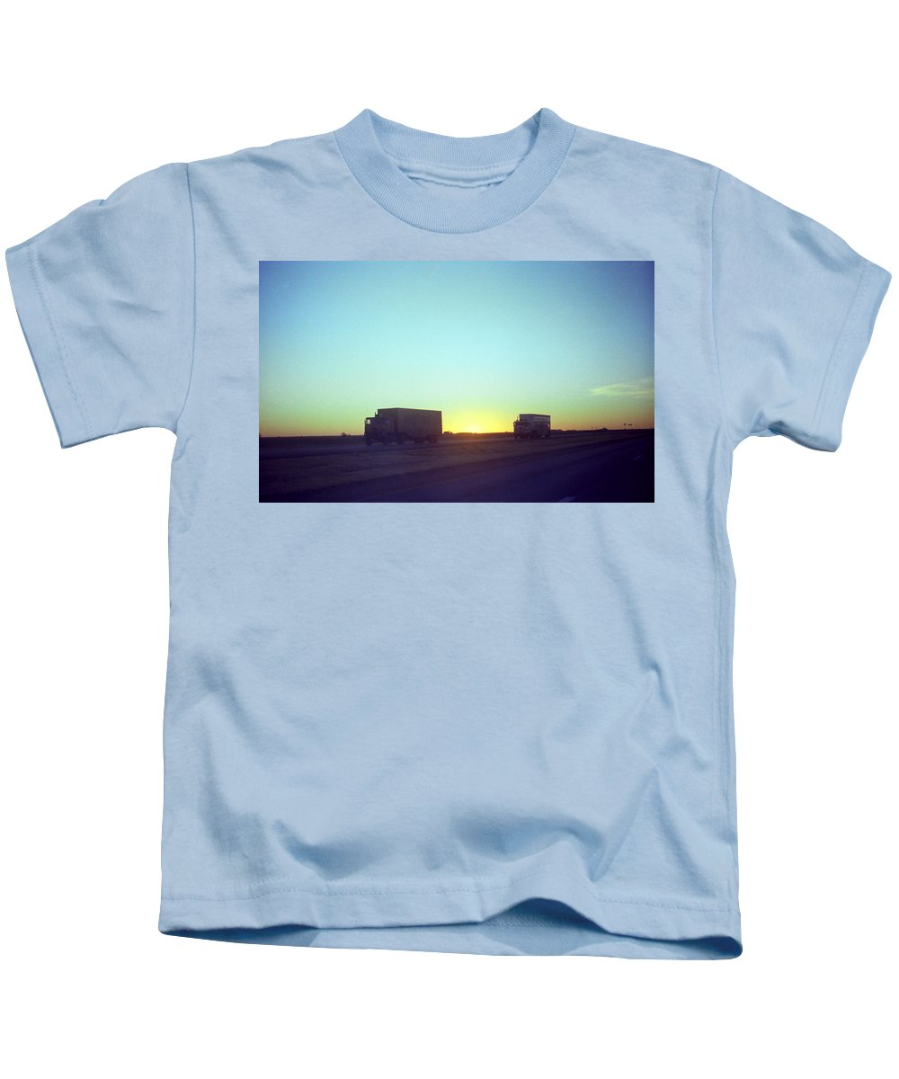 Adventure Kids T-Shirt featuring the photograph Trucker Sunset by Frank Romeo