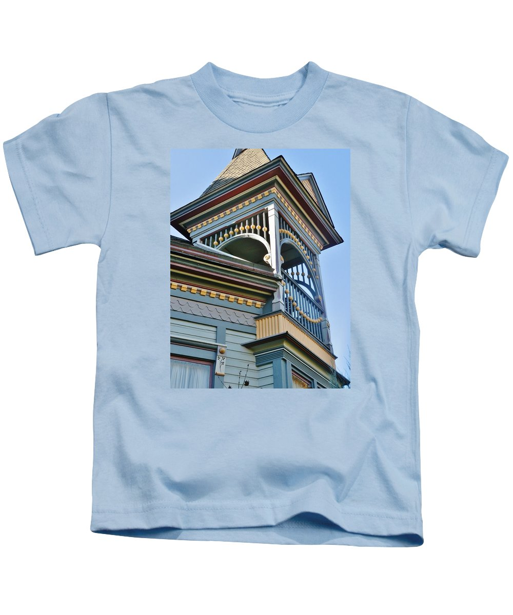 Structure Kids T-Shirt featuring the photograph Turret Details by VLee Watson