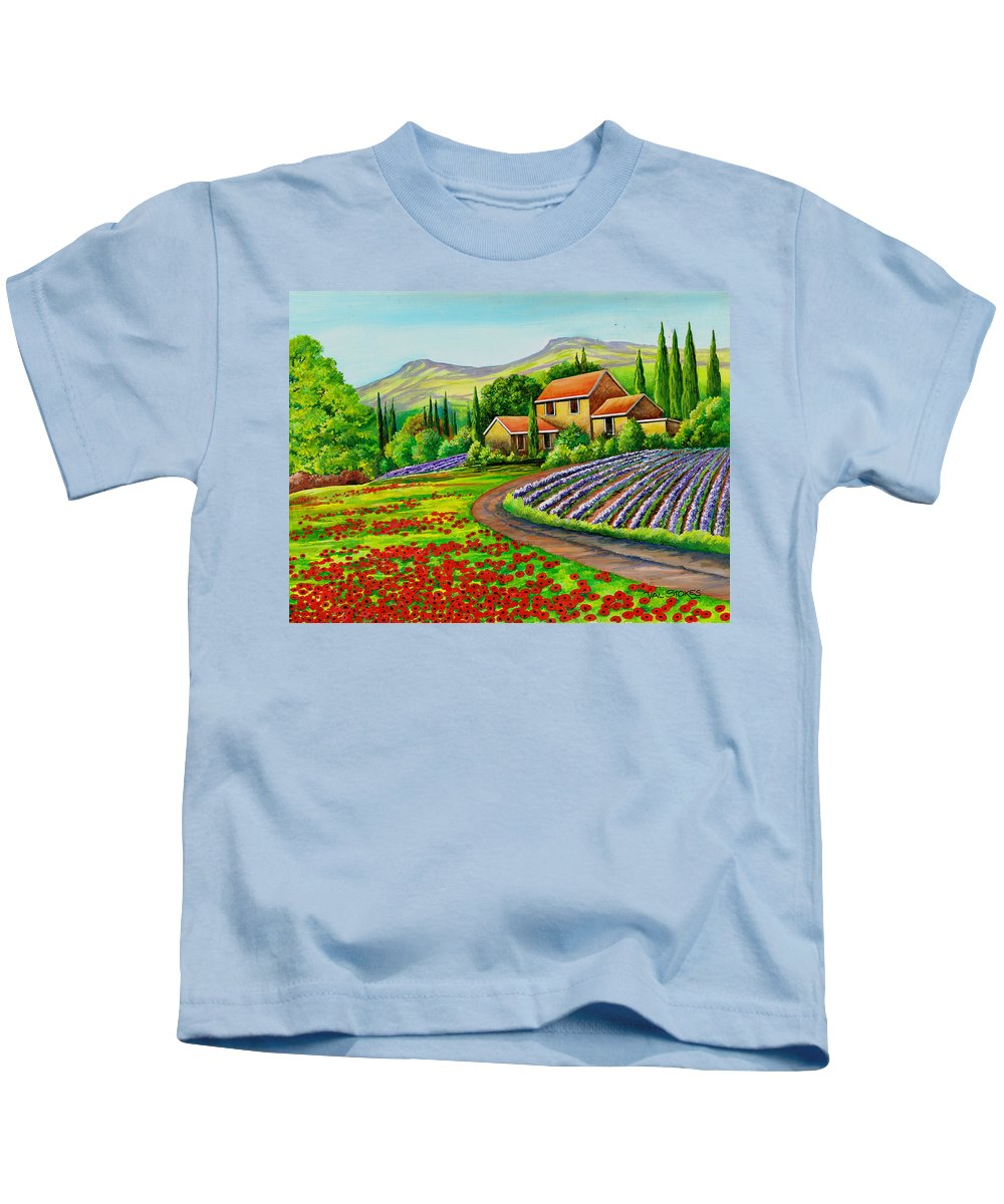 Art Licensing Kids T-Shirt featuring the painting Tuscany Lavender by Val Stokes