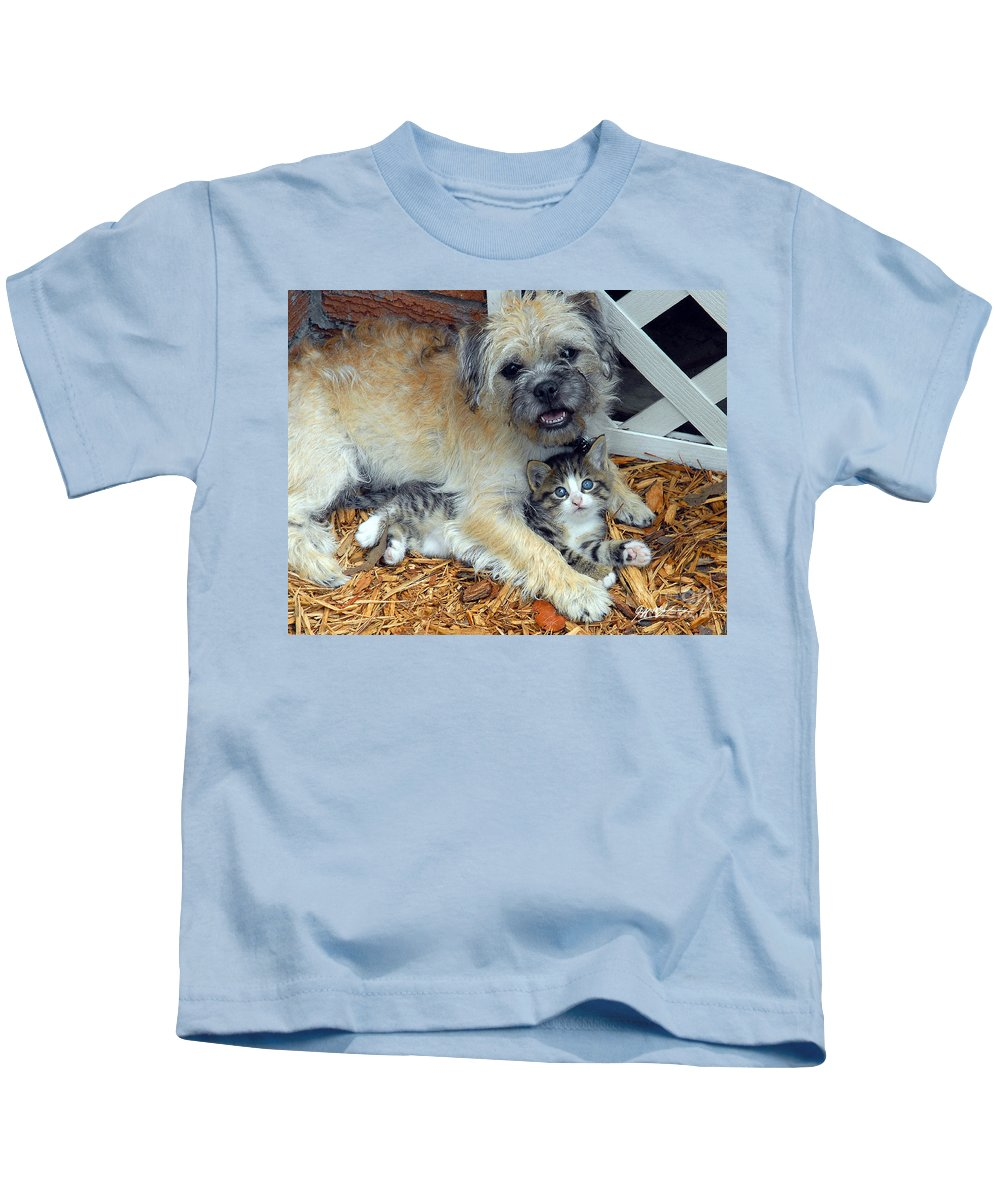 Puppy Kids T-Shirt featuring the photograph Two Buddies by Jeff McJunkin