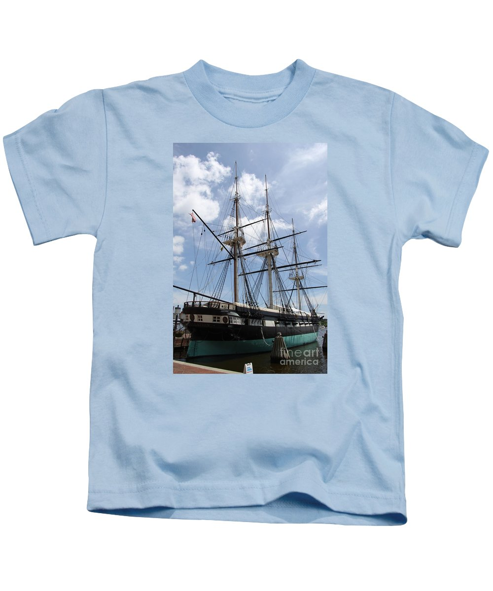 All Sail War Ship Kids T-Shirt featuring the photograph U S S Constellation by Christiane Schulze Art And Photography