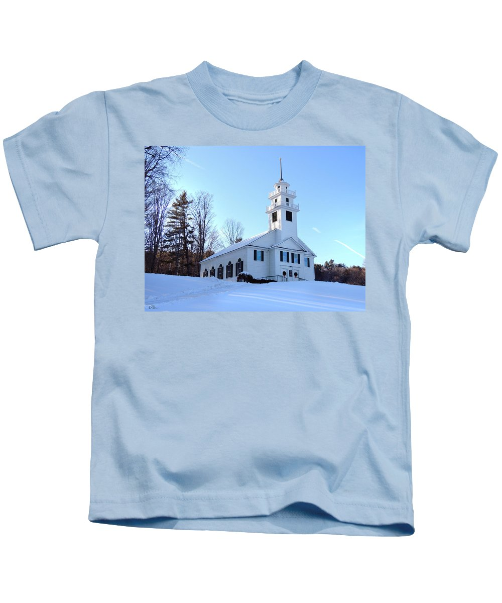 Church Kids T-Shirt featuring the photograph Union Meeting House In West Newbury Vermont by Nancy Griswold