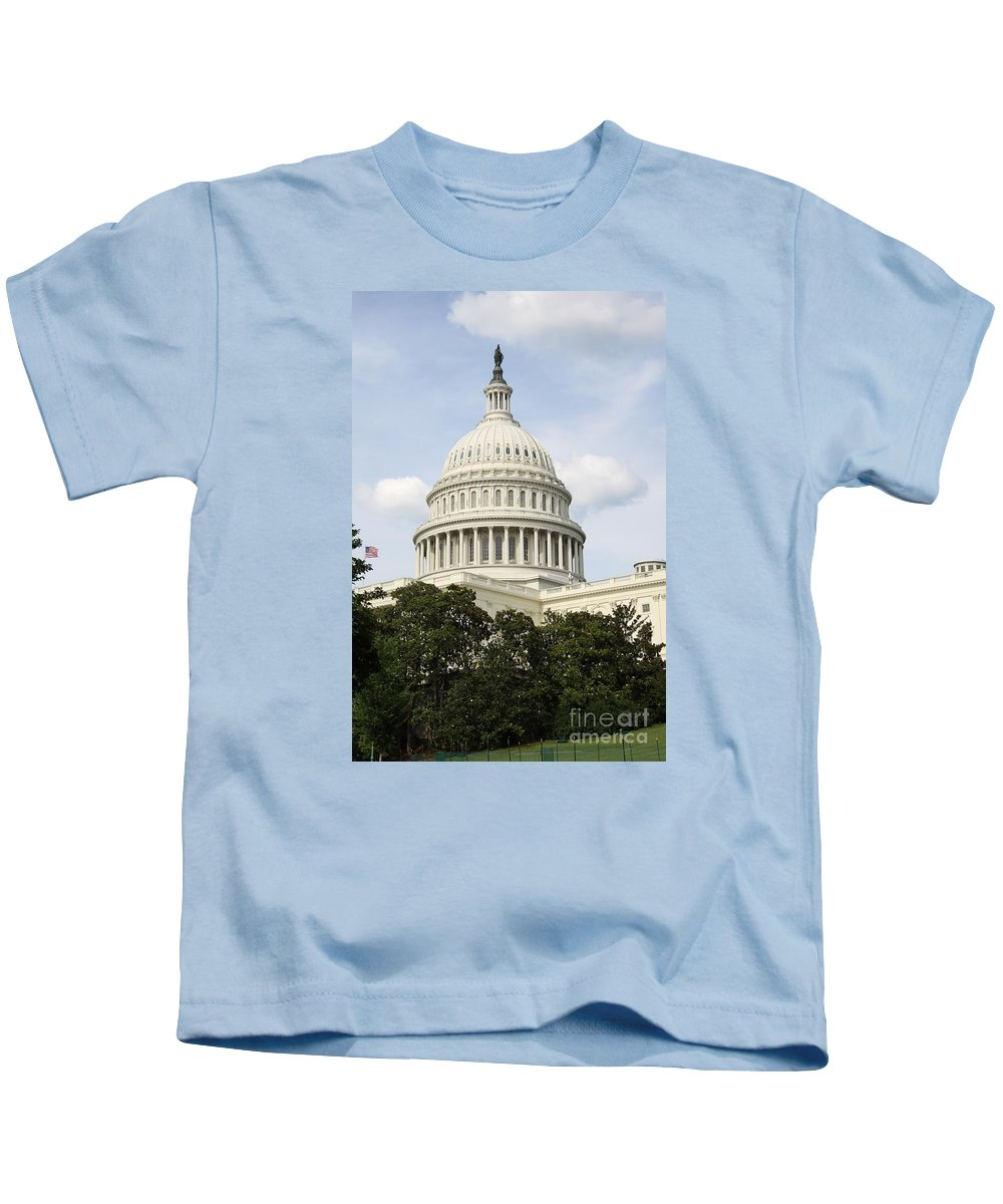 Capitol Kids T-Shirt featuring the photograph United State Capitol Dome Washington Dc by Christiane Schulze Art And Photography